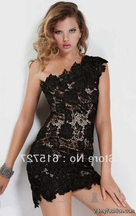 one shoulder black lace cocktail dress 20162017 b2b fashion