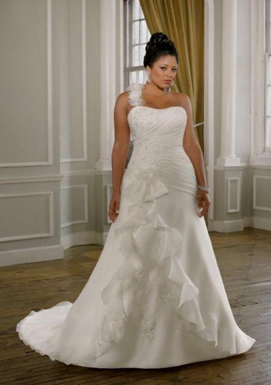 One shoulder wedding dress plus size 2016 2017 b2b fashion for Size 24 dresses for wedding