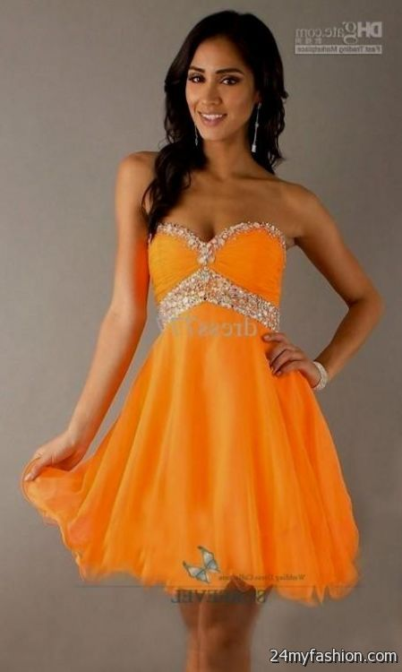 Unique Short Prom Dresses Orange