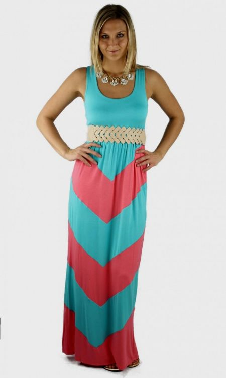 pink and blue chevron maxi dress | Gommap Blog