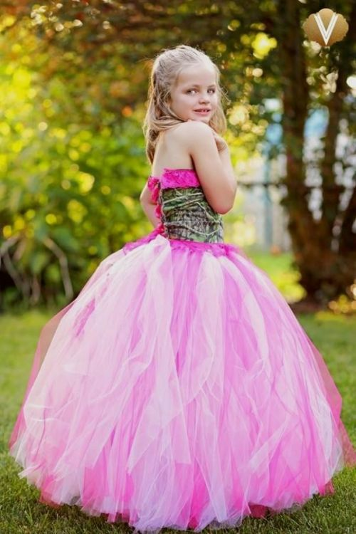 2b399af36bc You can share these pink camo flower girl dresses on Facebook
