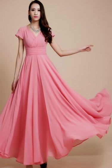pink maxi dress with sleeves 2016-2017 » B2B Fashion