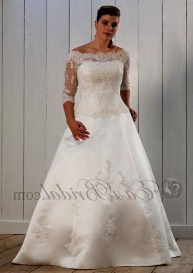 Plus size a line wedding dresses with sleeves 2016 2017 for Plus size a line wedding dresses