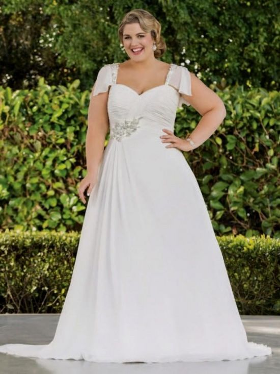 plus size empire waist wedding dresses with sleeves looks ...