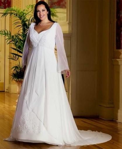 Plus Size Empire Waist Wedding Dress: Plus Size Empire Waist Wedding Dresses With Sleeves Looks