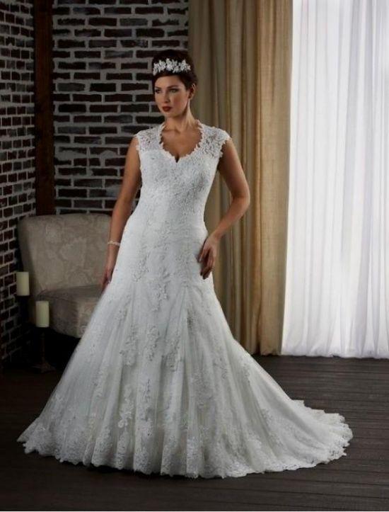 Plus Size Fit And Flare Wedding Dress | Plus Size Fit And Flare Wedding Dresses With Sleeves Looks B2b Fashion