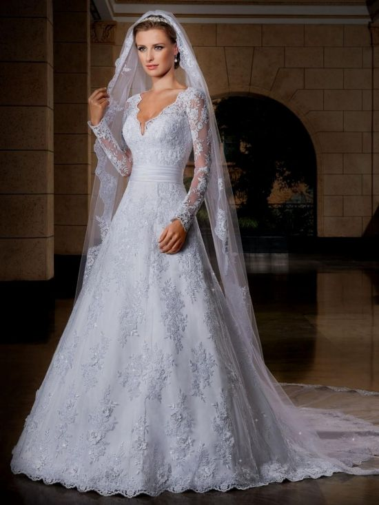 Plus Size Fit And Flare Wedding Dresses With Sleeves 2016 2017