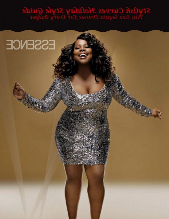 Plus size gold sequin dress looks | B2B Fashion