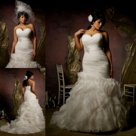 Plus Size Gothic Wedding Dresses 2016 2017: Plus Size Lace Mermaid Wedding Dresses 2016-2017