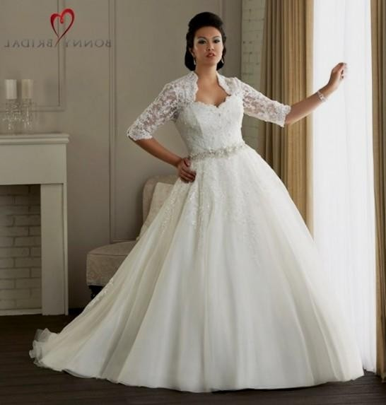 Plus size lace wedding dresses with sleeves 2016 2017 for Plus size lace wedding dresses with sleeves