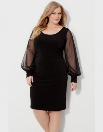 6c6a4307e110b Plus Size Short Dresses With Long Sleeves - Dress Foto and Picture