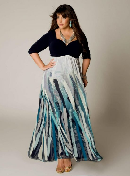 Plus Size Maxi Dresses With 3 4 Sleeves 2017 2018 B2b