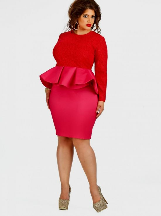 plus size pink peplum dress looks | B2B Fashion