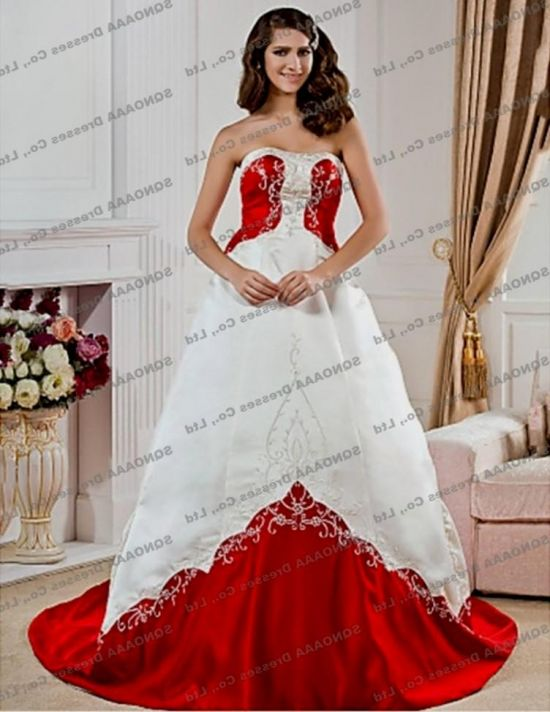 Plus size red and white wedding dresses 2016 2017 b2b for Wedding dresses white and red