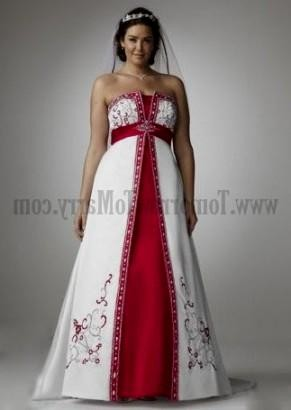 Red And White Wedding Dresses Plus Size