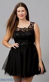 Plus size short black formal dresses