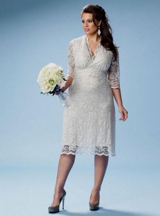 plus size short wedding dresses with sleeves 2016-2017 | B2B Fashion