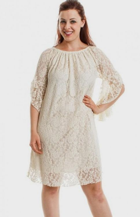 6ff530d0e5a You can share these plus size taupe lace dress on Facebook
