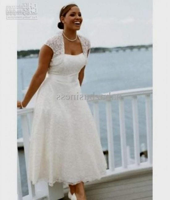 Plus size wedding dress tea length 2016 2017 b2b fashion for Plus size midi dresses for weddings