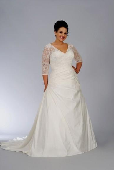 Plus Size Wedding Dress With 34 Sleeves 2016 2017 B2b Fashion