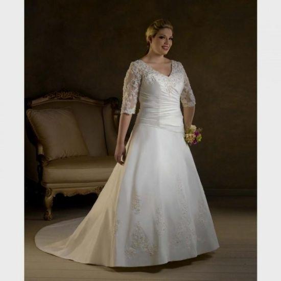 Plus Size Wedding Dresses 3 4 Sleeve : Plus size wedding dress with sleeves b