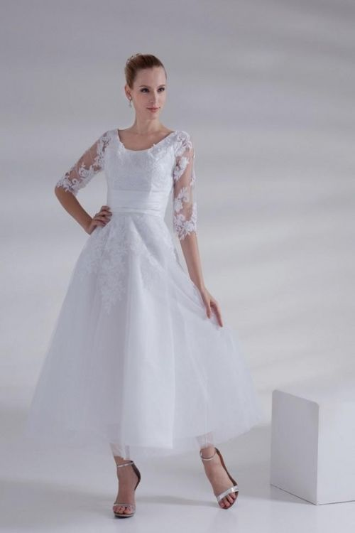 Plus Size Wedding Dresses Tea Length With Sleeves : Plus size wedding dress with sleeves tea length