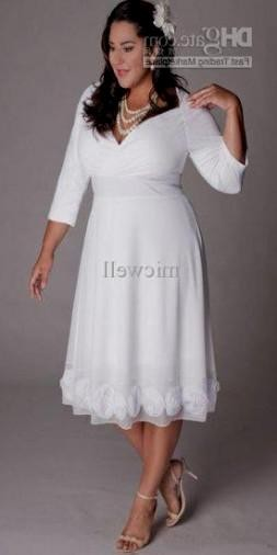 plus size wedding dress with sleeves tea length looks | B2B Fashion