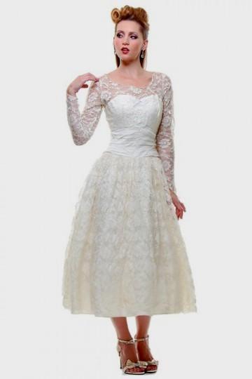 plus size wedding dress with sleeves tea length 2016-2017 | B2B Fashion