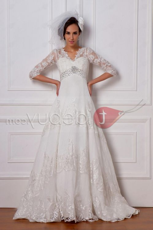 plus size wedding dresses with 3/4 sleeves 2016-2017 | B2B Fashion