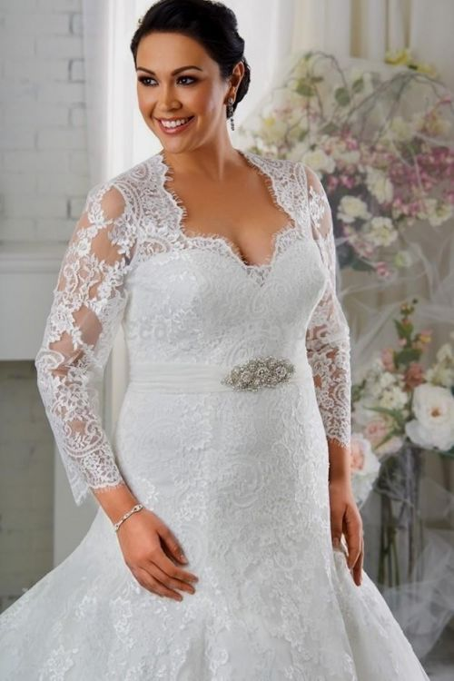 Plus size wedding dresses with sleeves or jackets 2016 for Wedding dress jackets plus size