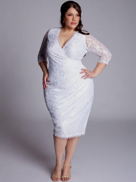 plus size white party dress with sleeves 2016-2017 | B2B Fashion