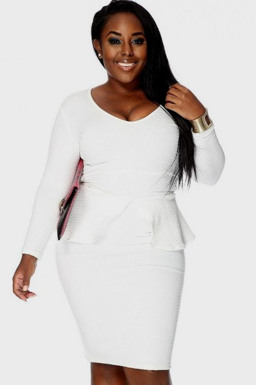 plus size white peplum dress looks | B2B Fashion