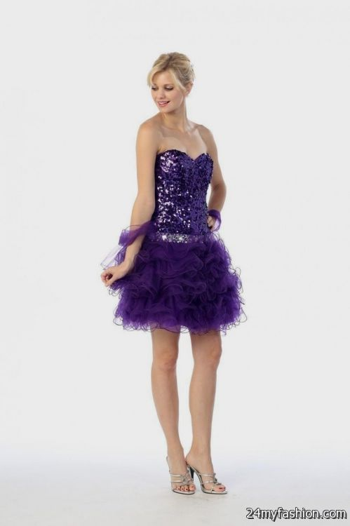 purple and white sweet 16 dresses short looks | B2B Fashion
