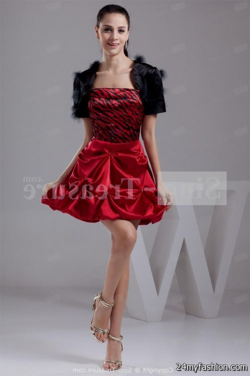 red and black cocktail dress