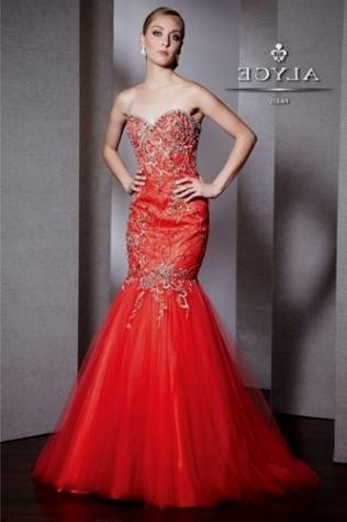 Black and Red Mermaid Prom Dress