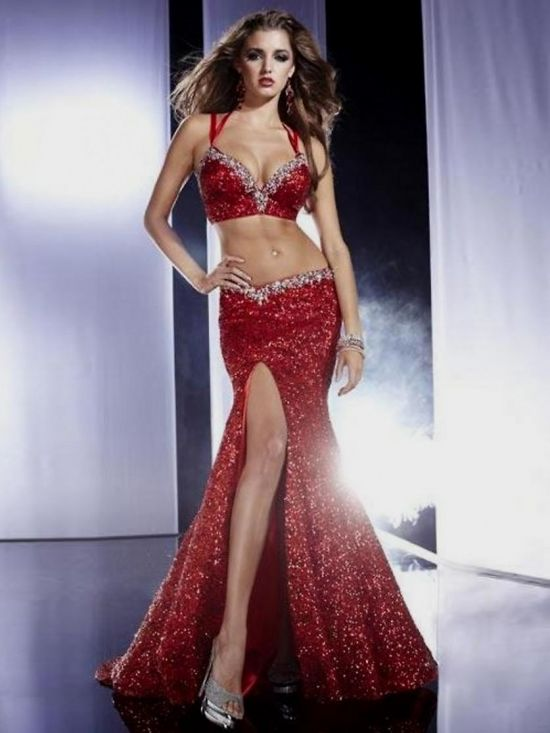 Corset Red Prom Dresses