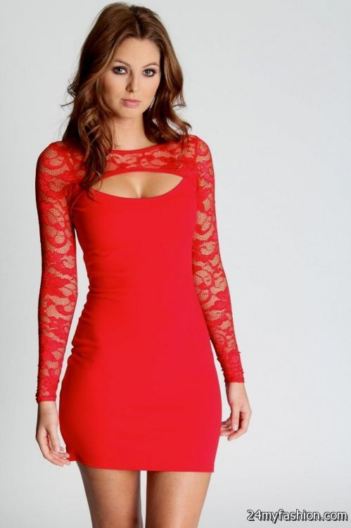 Red bodycon dress lace