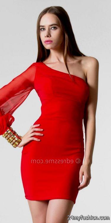 red one shoulder cocktail dress 20162017 b2b fashion