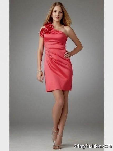 red one shoulder cocktail dress looks b2b fashion