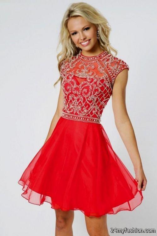 red short prom dresses 2018