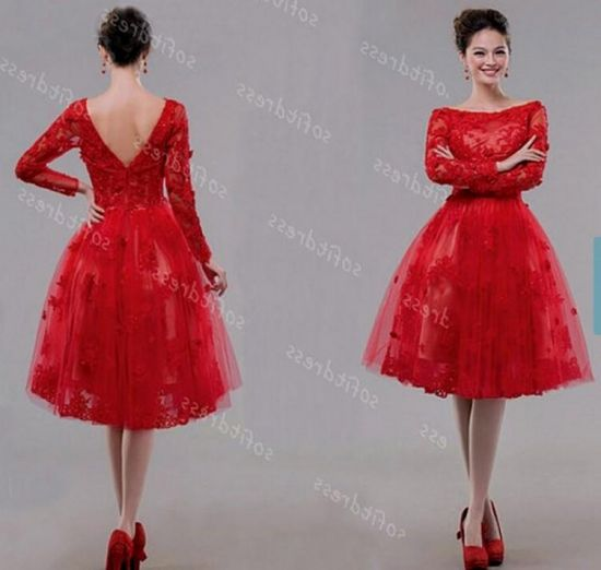 Red tea length dress ejn dress for Red tea length wedding dress