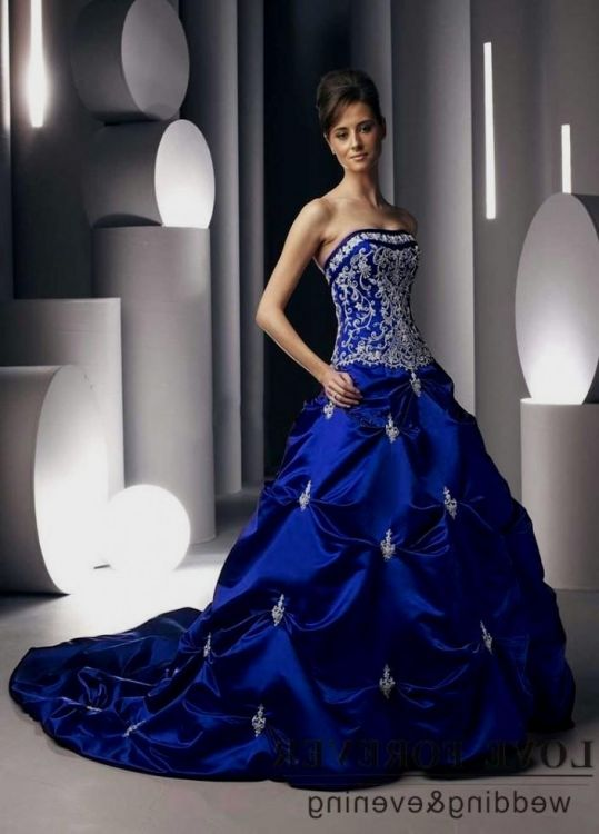 Royal Blue And Silver Wedding Dresses