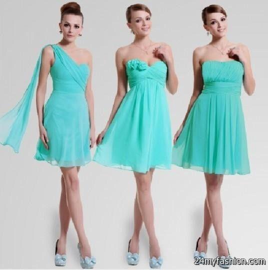 Short Aqua Bridesmaid Dresses 2016 2017