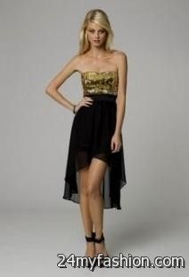 Gold and black short prom dresses