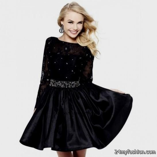 short black lace prom dress with sleeves 20162017 b2b