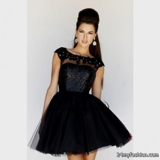 short black lace prom dress with sleeves looks b2b fashion