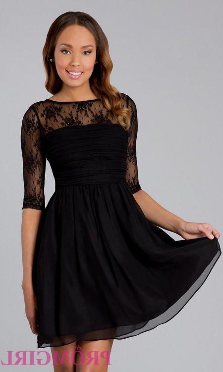 short black prom dress with sleeves looks | B2B Fashion
