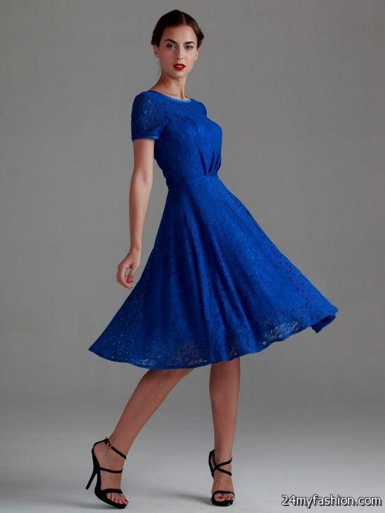 short blue dresses with long sleeves 2016-2017 » B2B Fashion