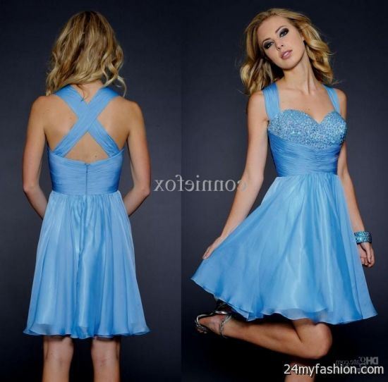 short blue homecoming dresses with straps 20162017 b2b