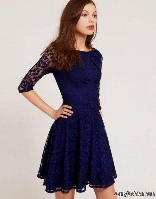 Dark blue lace wedding dress